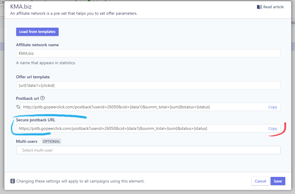 Secure postback URL
